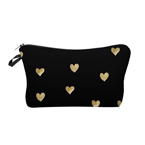 Lurrose Sacs à cosmétiques portables Sac de maquillage en forme de coeur Sac de rangement pour articles de toilette pour filles (motif de coeur d'amour)