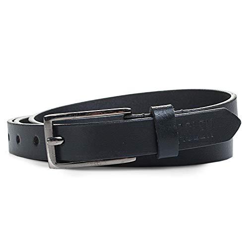 Jaslen - cinturón de cuero unisex. piel genuina. hebilla metálica. flexible y...