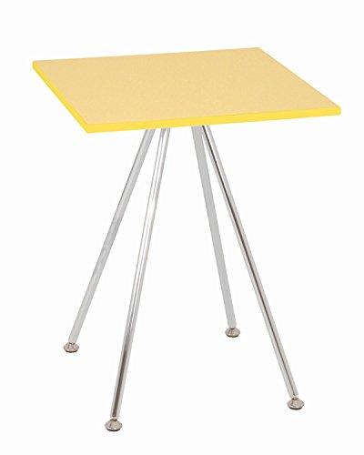 Haku Möbel 33965 mesa auxiliar 40 x 40 x 52 cm, cromo / amarillo