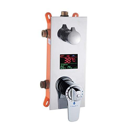 Gorheh Temperatur Digitalanzeige Dreifachthermostatpatronen Ventil Badezimmer 3-Wege-Ventil Für Duscharmatur Duschpaneel