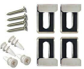 鏡 ミラー 取り付け金具 鏡止め金具 (ミラーハンガー)(小)(金具もネジも耐食性の高い高級ステンレス鋼SUS304)(石膏ボードアンカー付属):MhBa-S