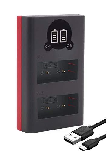 Baxxtar 18612 - Cargador compatible con batería Fujifilm NP-W126s NP-W126 - Cargador Mini USB dual / LCD - Fuente de alimentación vía USB-C o Micro-USB