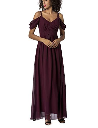 APART Damen Abendkleid mit Trägern und Off Shoulder Chiffonschals