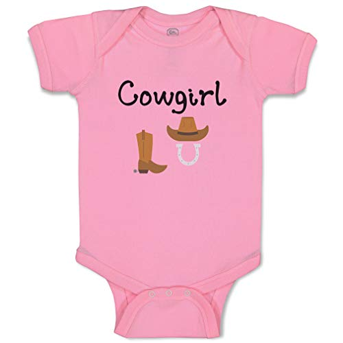 Custom Boy & Girl Baby Bodysuit Cowgirl Hat Boots Horse Shoes Funny Cotton Baby Clothes Soft Pink Design Only Newborn