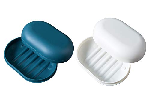 vr idea 2-Pack Soap Dish Travel Soap Box Soap Container Perfect for Gift, Travel (Green & White)