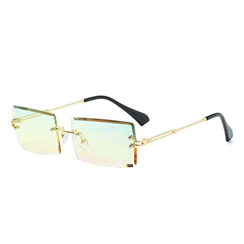 LIPENG Gafas de Sol Gafas de Sol cuadradas de Borde Cortado sin Marco Moda Gafas pequeñas Gafas de Sol PC (Size : Golden Frame Green Yellow Powder)