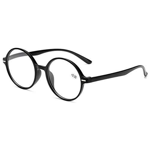 VEVESMUNDO Gafas de Lectura Mujer y Hombre Anteojos para Leer Presbicia Lejos Graduar Retro Grandes Redondo Patilla Larga (+2,5, 1 Gafas de Negro)