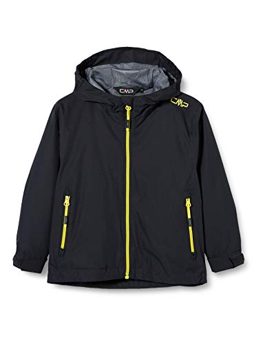CMP Jungen Windproof and Waterproof rain Jacket WP 10.000 Jacke, Anthracite-Lemonade, 128