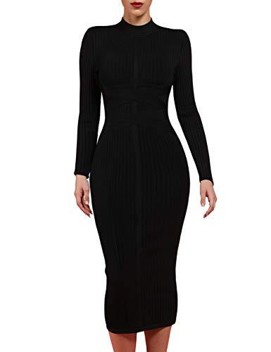 whoinshop Women's Cross Strap Ribbed Bandage Long Sleeve Midi Fall Winter Bodycon Party Dress