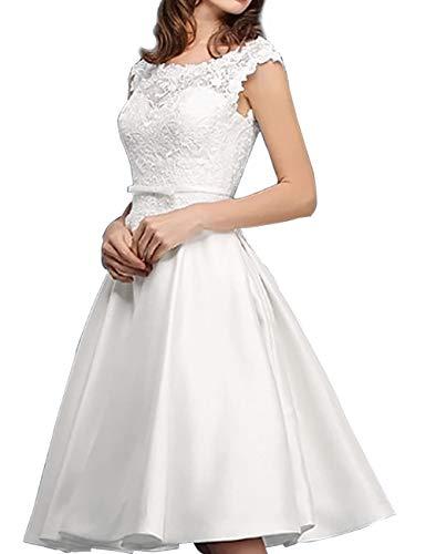 Kurze Brautkleider Vintage A-Linie Rückenfrei Spitze Satin Standesamtkleid Hochzeitskleid Wadenlang Schlicht Weiß 32