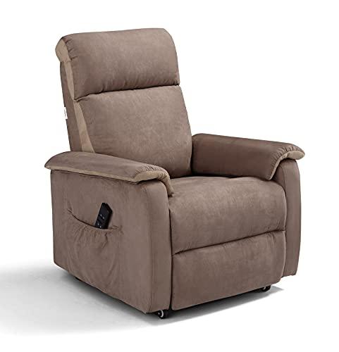 Poltrona Manhattan relax 2 motori con reclinazione schiena/gambe indipendenti (posizione TV) sistema Roller e Memory 4 CM su Seduta. Braccioli estraibili.