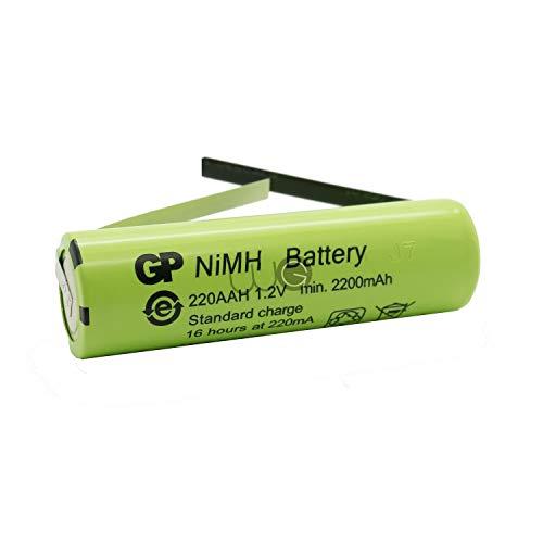 Ersatzakku GP Batteries von WG® 2200mAh 1.2V 49x14mm kombatibel mit Braun Oral B elektrische Zahnbürsten Typ 3709 und 3737 Vitality, Vitality Sonic, Stages Power, TriZone, Pro 500, Pro Health Jr.