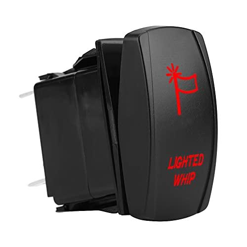 Interruptor Basculante Látigo, Yctze Universal 5Pin Interruptor Basculante Látigo Iluminado con Láser Luz LED de Encendido Y Apagado 12V-20A 24V-10A(luz roja)