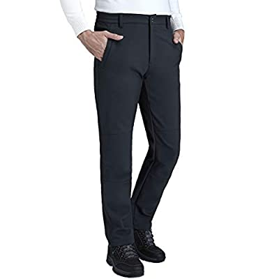 CAMEL CROWN Men's Waterproof Hiking Pants Ski Fleece Lined Insulated Warm Soft Shell Pants Grey