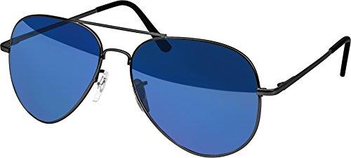 Balinco Hochwertige Pilotenbrille Sonnenbrille 70er Jahre Herren & Damen Sunglasses Fliegerbrille verspiegelt (Grey/Matt-Blue)