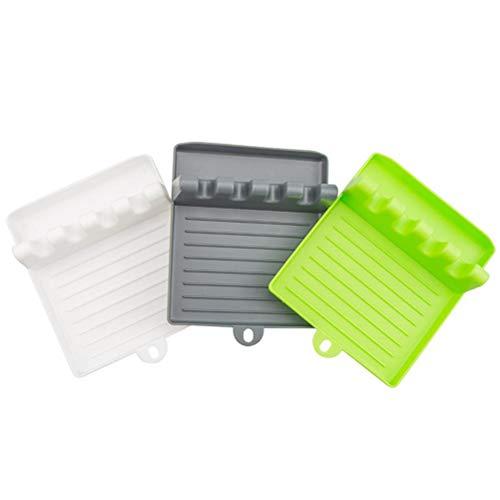 Lewpox Tenedor de Cuchara Antideslizante de 3 Piezas, Almacenamiento de Utensilios Resistentes al Calor, Herramientas de cocción Bandeja de Cuchara, Bandeja de Utensilios