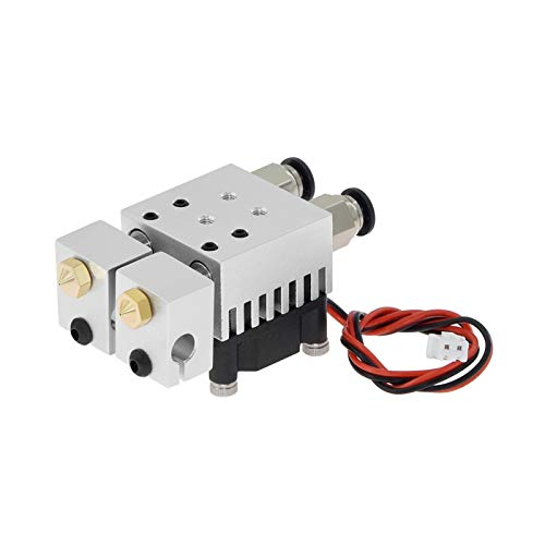BGGZZG 3D Printer Hotend Extruder/Fit For Chimera Hotend Kit Dual Color 2 IN 2 OUT Extruder Multi-extrusion All Metal V6 Dual Extruder 0.4mm/1.75mm Parts (Size : Double spray extrude)
