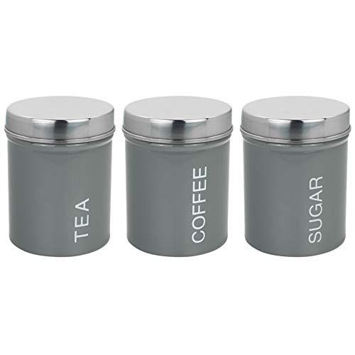 Harbour Housewares 3 Piece Contemporary Tea Coffee Sugar Canister Set - Steel Kitchen Storage Caddy with Rubber Seal - Grey - 10cm