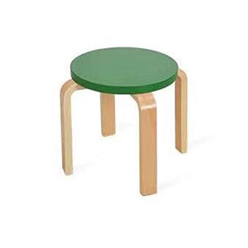 WENYC Tweedelige kinderstoel van massief hout, eetkamerstoel voor scholieren, lage kruk, schoenenbank, mini-houten bank groen