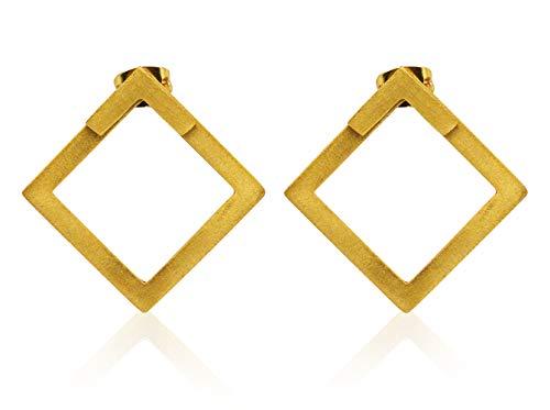 Pendientes de Oro 18k Cuadrados para Mujer - Pendientes Dos Posiciones - Joyería geométrica - Diseño único de Vurmashop