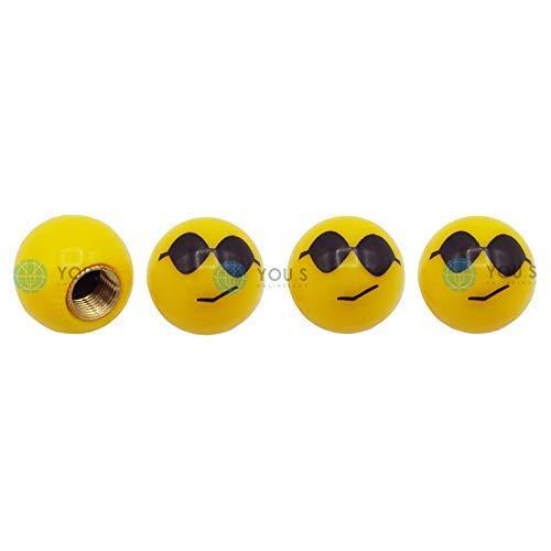 YOU.S Kunststoff Emotion Smileys 'Sonnenbrille' Ventilkappen Gelb mit Dichtung Ventil Kappen Abdeckung für Auto PKW LKW (4 Stück)