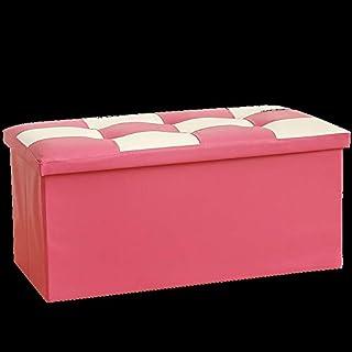 GEIFD IGE 110 Liters Storage Stool Leather Shoe Changing Stool, Storage Stool, Large Storage Box, Foldable Sofa Stool,7638...
