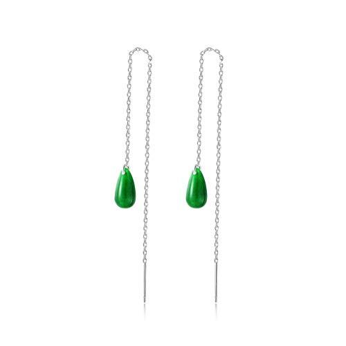 WOZUIMEI Chinese Style Earrings Eardrop S925 Silver Retro Long Tassel Ear Line Water Drop Jade Earrings Jiangnan Classical Female Earrings As Shown