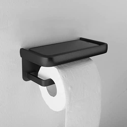 goldenwarm Klopapierhalter Schwarz Toilettenpapierhalter mit Ablage -YS001BK Toilettenpapierhalter Schwarz wc Toilettenpapierhalter Feucht Schwarz 1 Pack