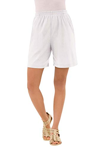 Roamans Women's Plus Size Soft Knit Short Pull On Elastic Waist - 3X, White