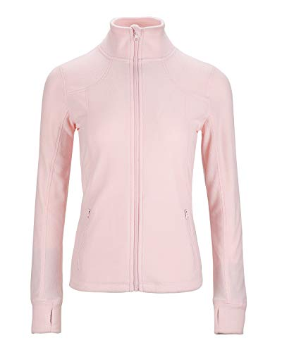 Dolcevida Women's Lightweight Soft Fleece Athletic Running Track Jackets Slim Fit Workout Jacket with Thumb Holes (Pink, M)