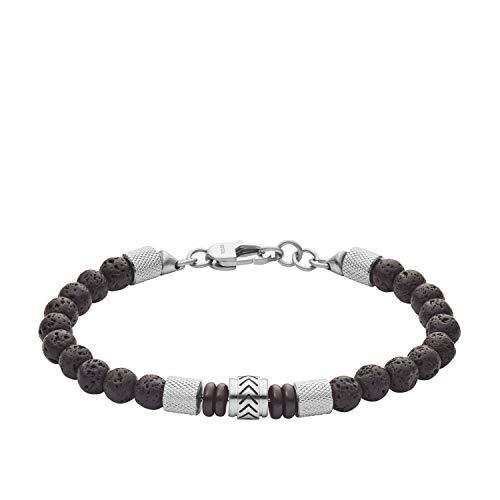 Fossil Heritage Beads JF03433040 Bracelet pour homme en pierre de lave et agate Noir