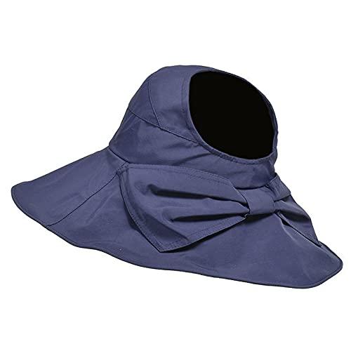 WAZHX Sombrero para El Sol ala Grande Protector Solar De Verano Sombrero Salvaje para Mujer Rostro Femenino Protección UV Ajustable - Código Promedio Sombrero con Lazo (Azul Marino)