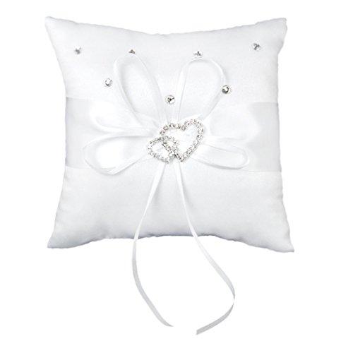 ACAMPTAR - Cuscino per fedi nuziali, 15 x 15 cm, con doppio cuore e strass
