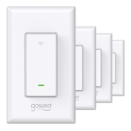 Gosund Smart Light Switch, in-Wall WiFi Smart Switch That Works with Alexa and Google Home, No Hub Required, Neutral Wire Needed, Single-Pole 15A, ETL and FCC Listed,4 Pack White