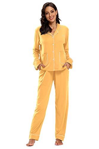 SHEKINI Schlafanzug Satin Damen, Baumwolle Knöpfen Pyjama mit Hose mit Gummibund Nachthemd Nachtwäsche Sleepwear 2 Teiliges Klassisch Pyjama Set Zweiteiliger Schlafanzug lang(Orange,S)
