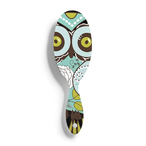 Brosse à cheveux en plastique motif hibou vert - Pour tous les types de cheveux - Pour femme, homme, cheveux secs et humides