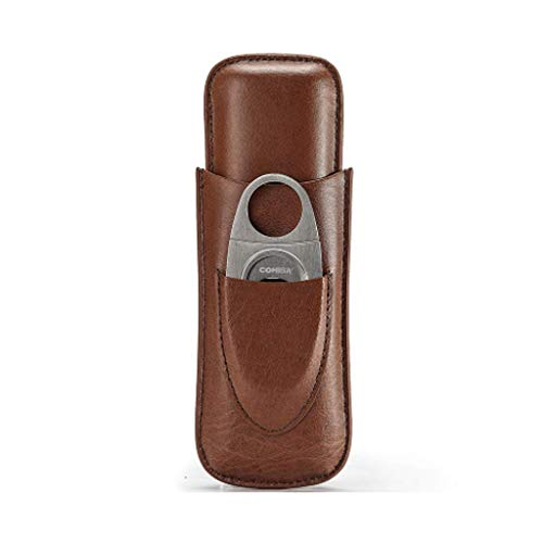 CLJ-LJ Can Hold 2 Cigars Travel Portable Cigar Tube Leather Cigarette Case with Cigar Cutter Cigar Leather Box Men's Gift Box Brown ble for the office classic Portable cigar humidifier