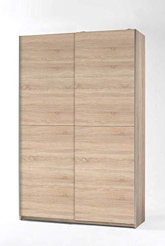 lifestyle4living Kleiderschrank in Eiche Sonoma-Dekor, Schwebetüren-Schrank mit viel Stauraum im natürlichen Look, 125 cm