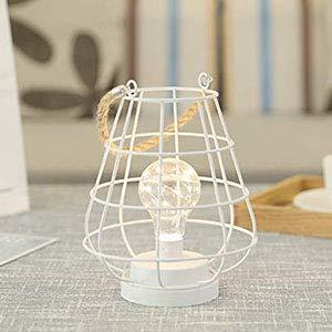 JHY DESIGN Metallkäfig LED-Laterne Batteriebetriebene, 22 cm hohe kabellose Akzentlampe mit LED-Glühbirne im Edison-Stil. Ideal für Hochzeiten, Partys, Terrassen, drinnen/draußen. (Weiß)