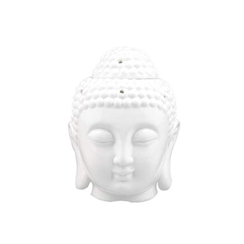 IUwnHceE 1pcs Buddha Ceramica Testa Essential Oil Burner Traslucido Diffusori di Aromaterapia Ceramica Titolari Tealight Buddha Ornamento per Yoga Spa Decorazione per La Casa Bianca