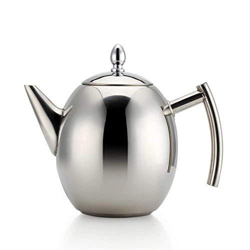 Haosen 1.5L Teekanne Edelstahl mit Siebeinsatz Kaffeekanne - Kein Magnet Oliven-Kaffeekanne Teekanne mit sieb (Silber)