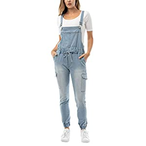 Almost Famous Women's Juniors Cargo Jogger Overall with Drawstring (S...