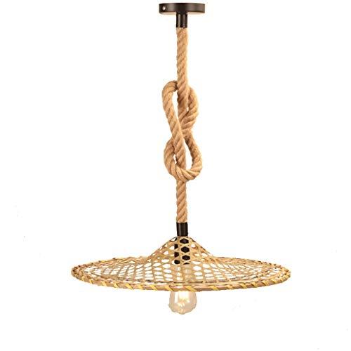Chandelier Doosan sombrero de paja de la lámpara de la guita cama y linternas Hollow Hollow sombreros linterna creativa de la lámpara Lámpara De Techo