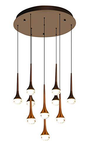 Lampara Colgante de techo Led, Decorativo de aluminio acabado anodizado Coffe mate, estilo moderno y elegante. Altura ajustable