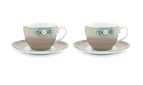 Pip Studio Tasse & Untertasse Blushing Birds | Khaki 2er Set