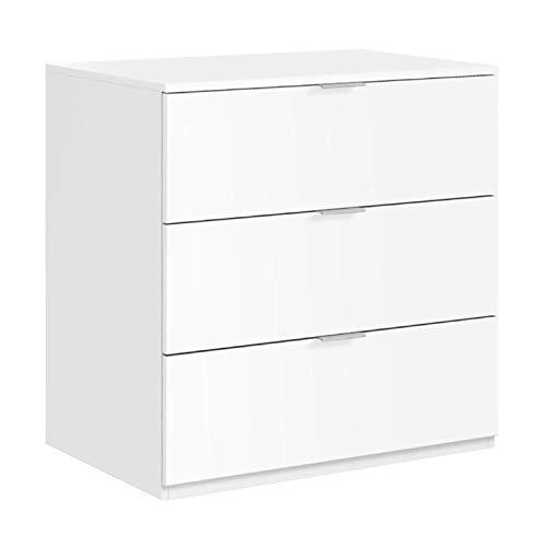 Habitdesign LC7823O - Cómoda 3 cajones Color Blanco Mate, Medidas: 77 cm (Ancho) x 80 cm (Alto) x 38 cm (Fondo)