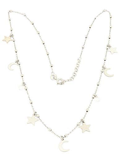 MAGICMOON - Meravigliosa collana da donna in argento 925 rodiato con ciondoli stelle e lune intervallate da cristallini bianchi - Mod. VTP10000702
