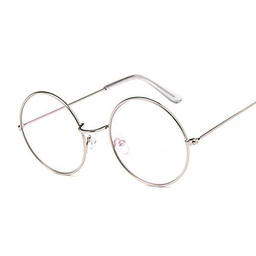 KUNIUO Gafas para Mujer, Monturas Ópticas, Montura De Gafas Redondas De Metal, Lentes Transparentes, Gafas, Negro, Plateado, Dorado, Cristal para Ojos-Silver