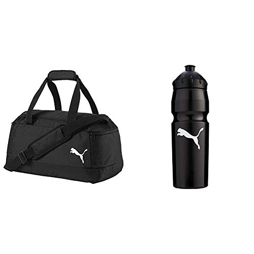 Puma Pro Training II Small Bag Tasche, Black, 42x26x50 cm & 'New' Waterbottle Plastic 0,75 Trinkflasche, Black-White, UA