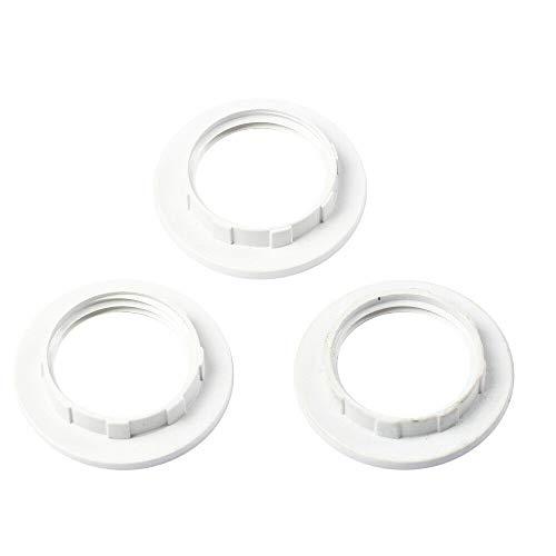 BAAQII 3 Stück Lampenschirm Kragen Ring für E14 Lampenschirm, Kunststoff Kragen Ring Adapter Lampe Lampenfassung (weiß)